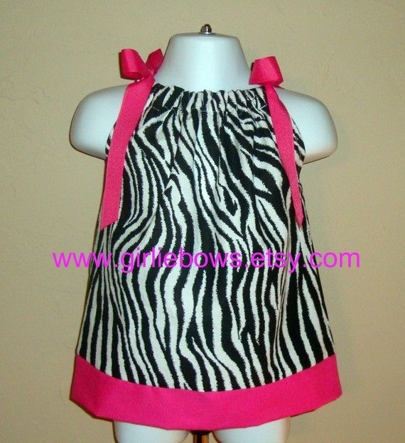 Zebra Print Pillowcase Dress or Top with Hot Pink 3 by girliebows, $20.00