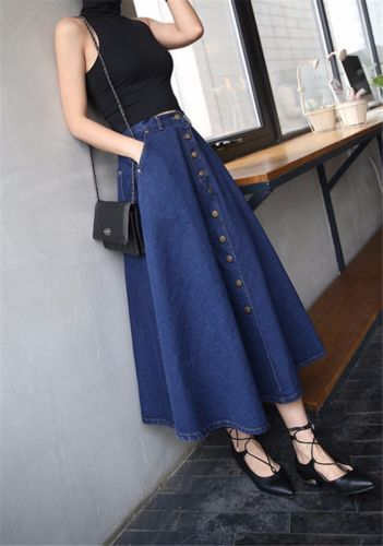 Photo of Denim Regular Size Solid A-Line Skirts for Women for sale | eBay