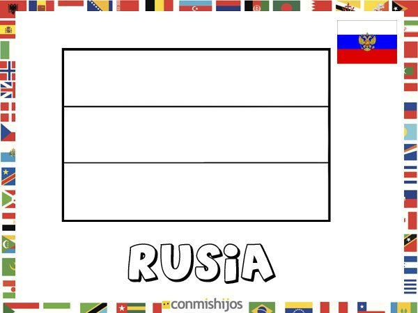 Bandera de Rusia. Dibujos de banderas para pintar | Niños ...