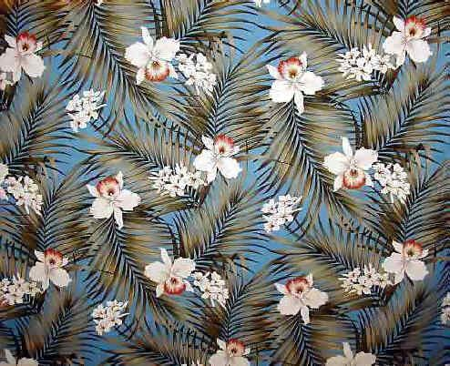 Fern Aqua Tropical Hawaiian orchid & plumeria flowers, cotton barkcloth upholstery fabric. Add Discount code: (Pin10) in comment box at check out for 10% off sub total at BarkclothHawaii.com