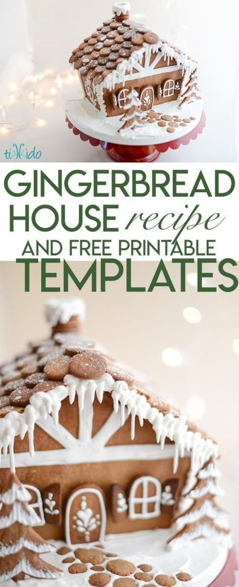 This is the ultimate, classic, delicious gingerbread house recipe that actually WORKS, including all the tips and tricks you need to make baking your first gingerbread house a complete success. Free printables for A Frame gingerbread houses as well. #gingerbreadhousetemplate