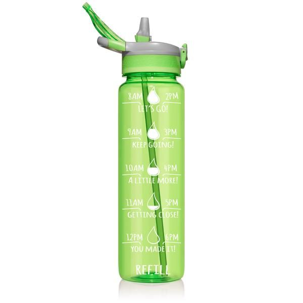 One Liter Straw Neon Green In 2020 Motivational Water Bottle Neon Green Bpa Free Water Bottles