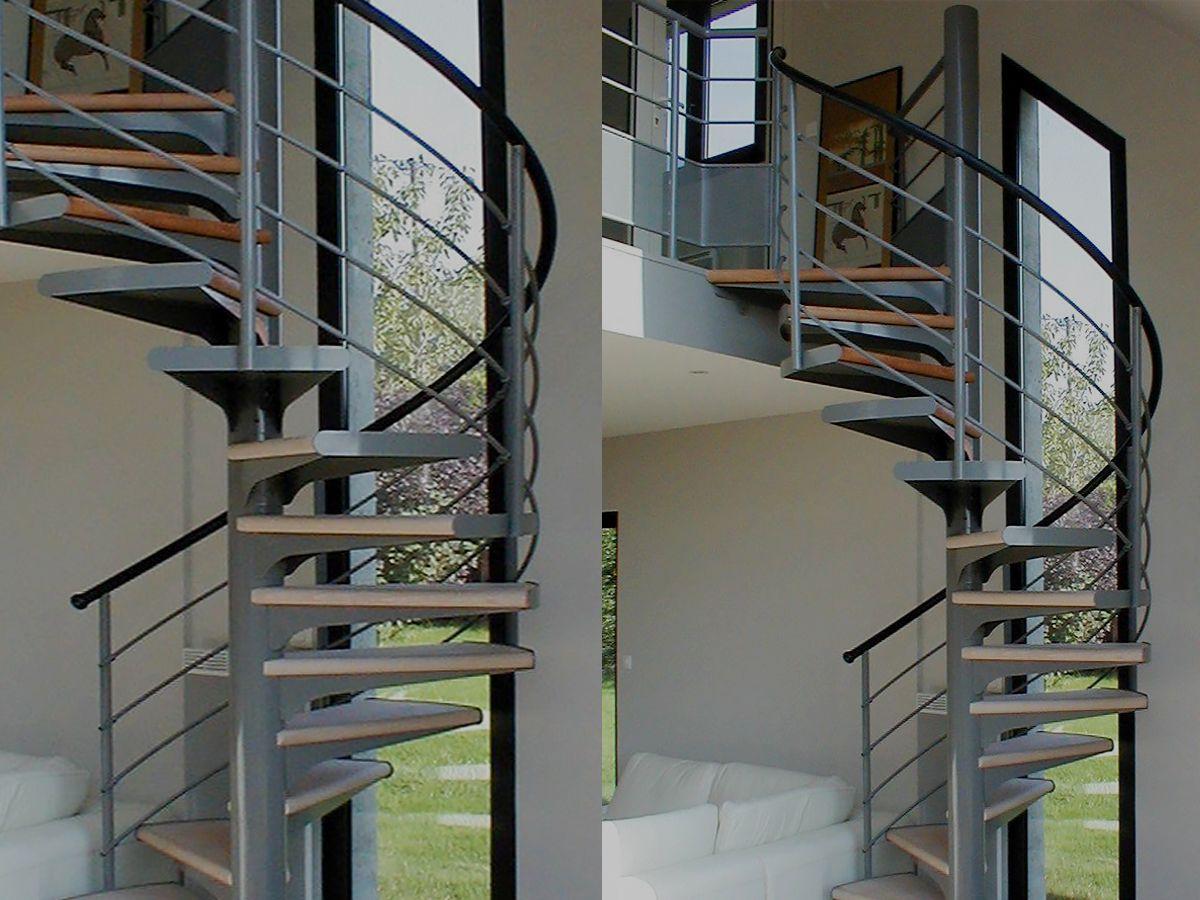 Escalier hélicoïdal avec platine, rampe en acier laqué ...
