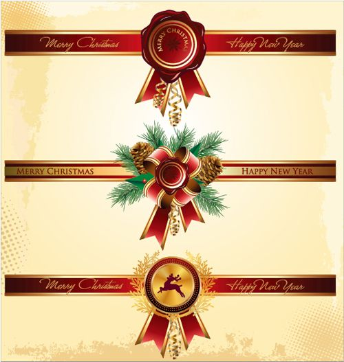 Christmas red banners with badge vector