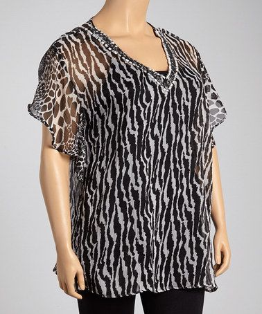 Look what I found on #zulily! Black & White Animal Cape-Sleeve Tunic - Plus #zulilyfinds