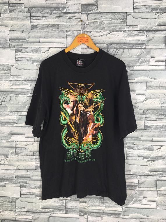 b95522578 Vintage 90's AEROSMITH Shirt Mens Xlarge American Rock Band Aerosmith Roar  Of The Dragon Tour Aerosm