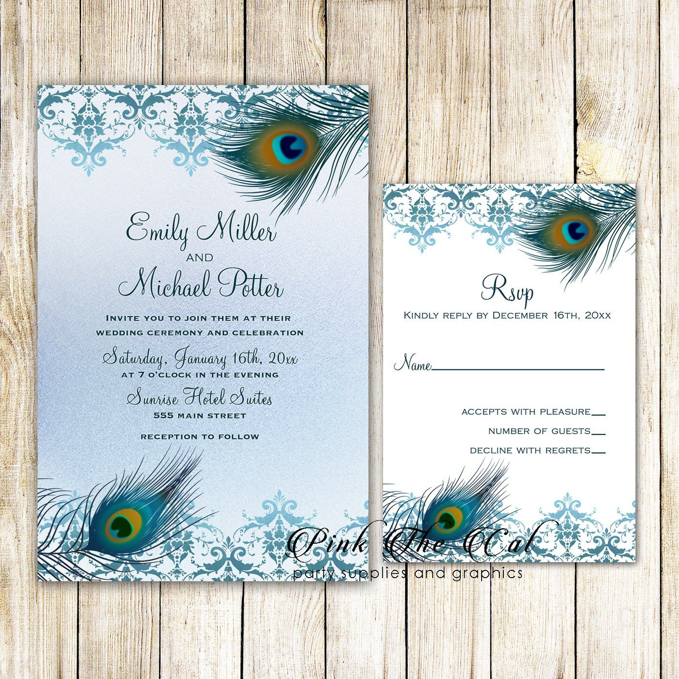 Wedding Invitations Rsvp Cards Peacock Teal Gold Printable