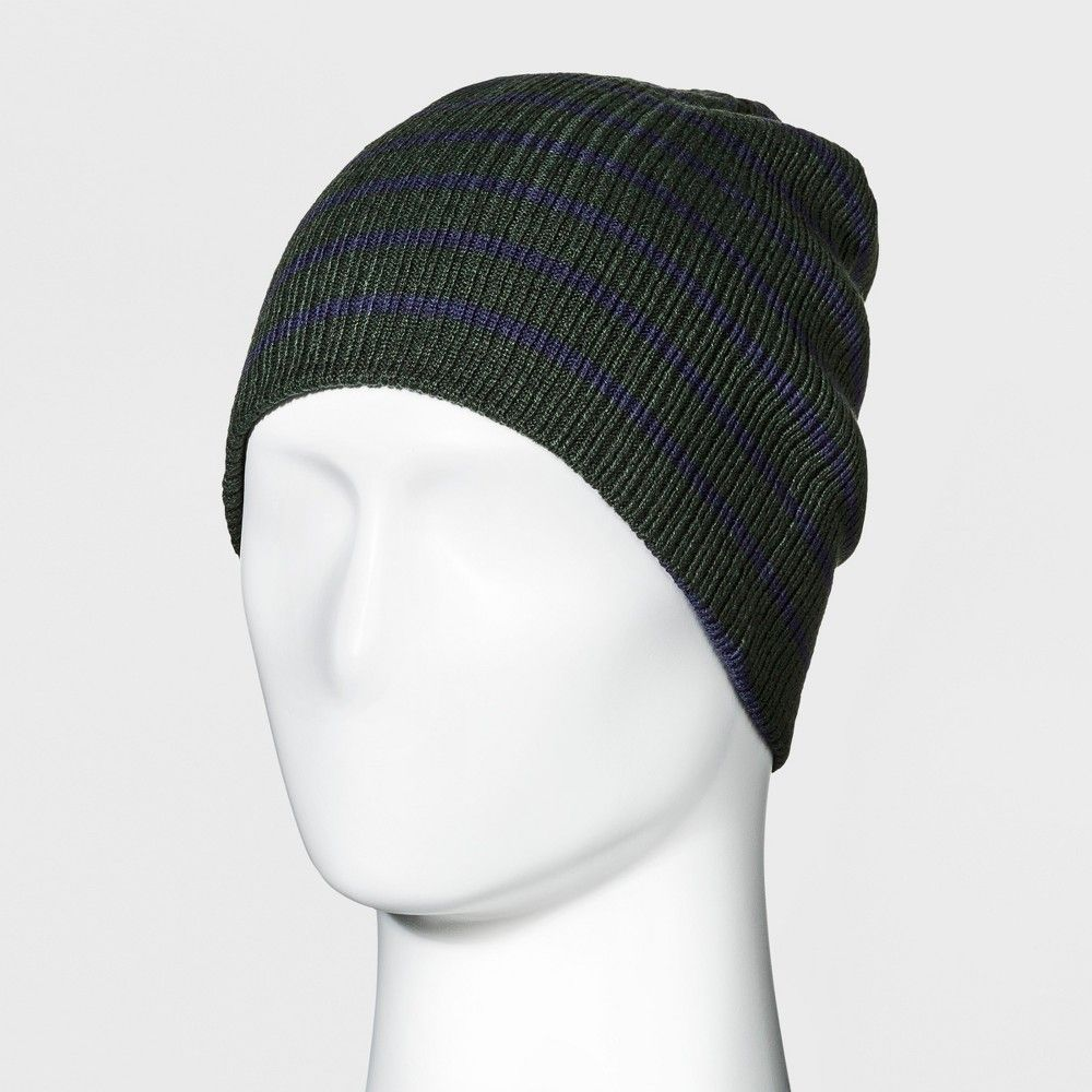 Men s Striped Rib Reversible Beanie - Goodfellow   Co Olive (Green) One Size 98fe6118ee3b