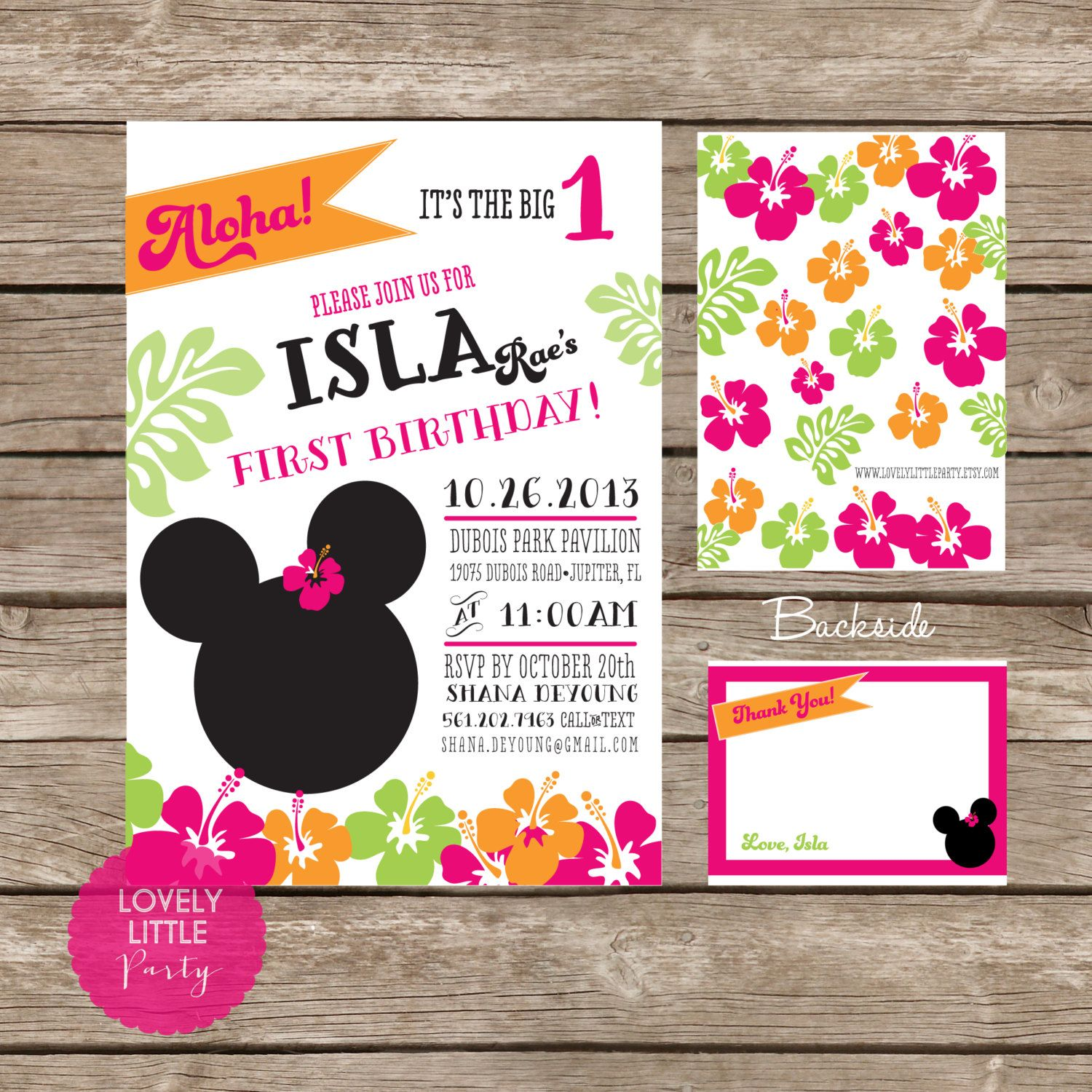 DIY Minnie Mouse Luau Invitation Kit