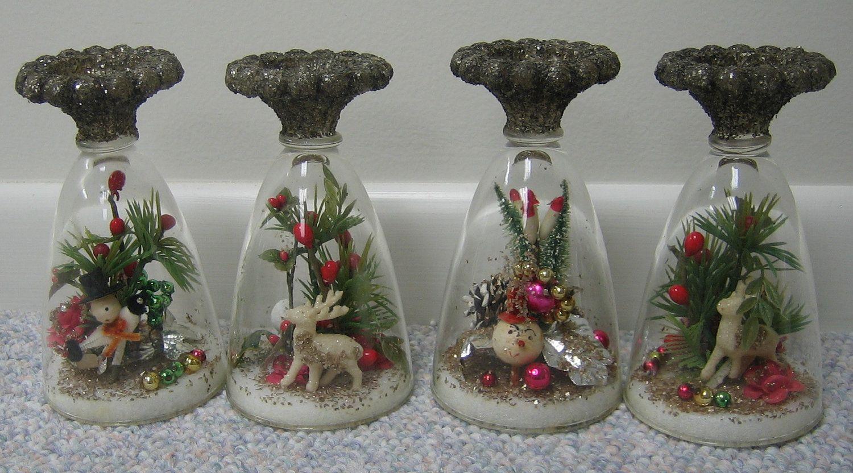 Vintage Christmas Decorations Domed Vignette Tabletop Decorations Ornaments Unique Set of 4