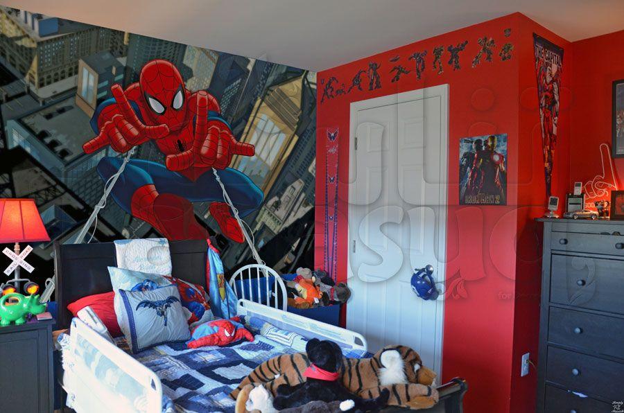 خلفية جدران سبايدر مان لغرف نوم الاطفال Spiderman Painting Art