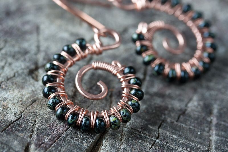 black spiral – wire wrapped copper earrings