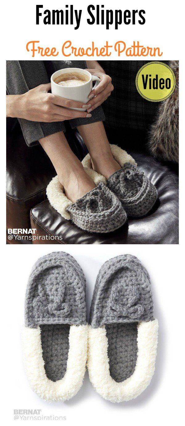 Family Moccasins Slippers Free Crochet Pattern and Video Tutorial ...