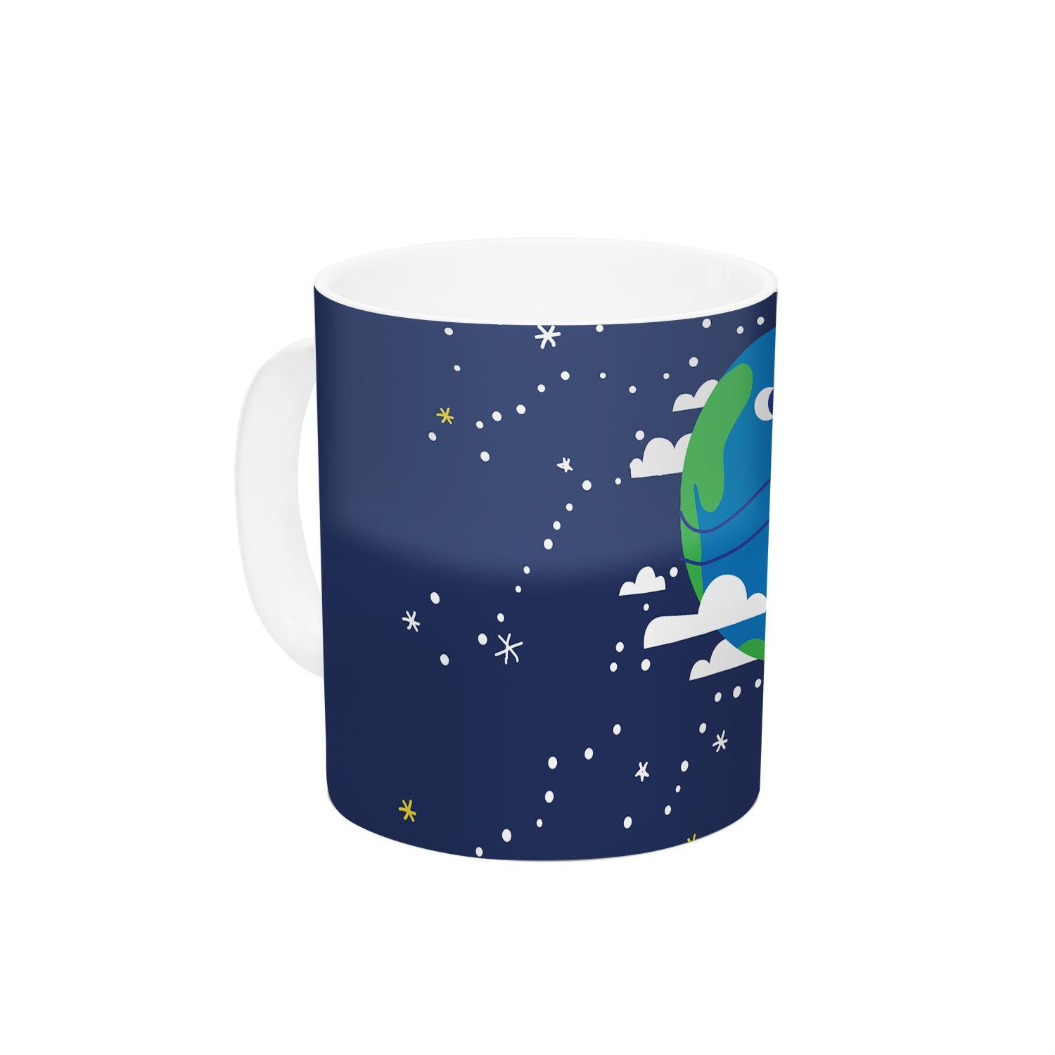 "Kess Original ""Happy Earth"" Blue Green Ceramic Coffee Mug"