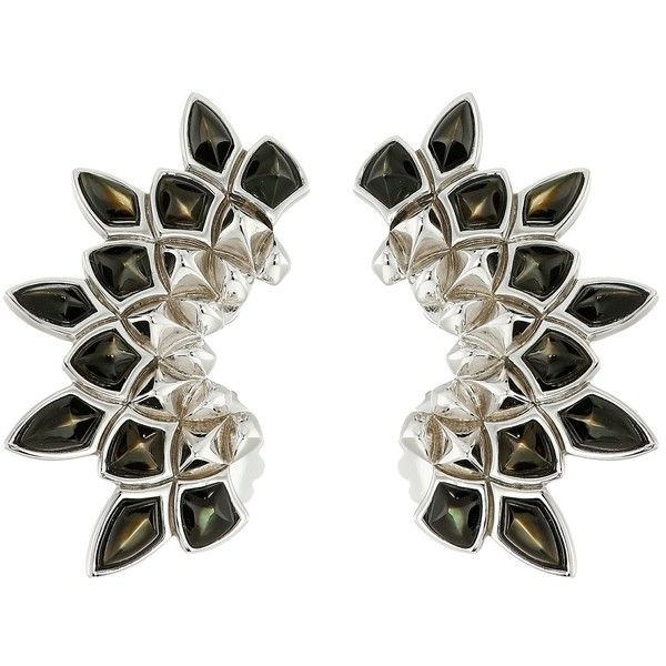Stephen Webster Superstone Earcuffs Earring ($595) ❤ liked on Polyvore featuring jewelry, earrings, black, stephen webster jewelry, black jewelry, post earrings, 14 karat gold earrings and stephen webster