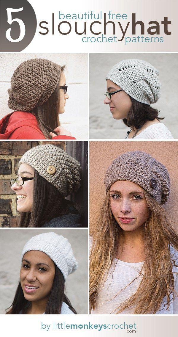 5 Free Slouch Hat Crochet Patterns | Free Crochet Slouchy Hat ...