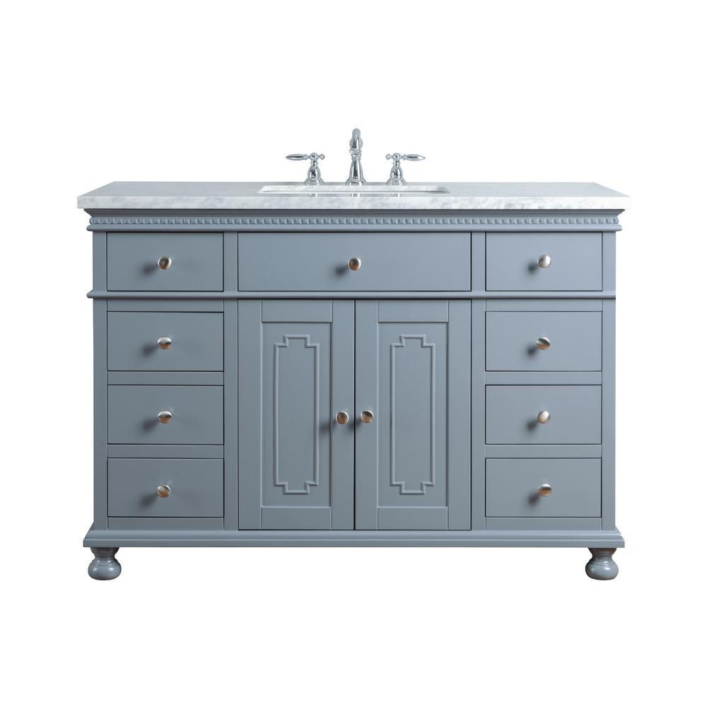 Stufurhome 48 In Abigail Embellished Single Sink Vanity In Grey