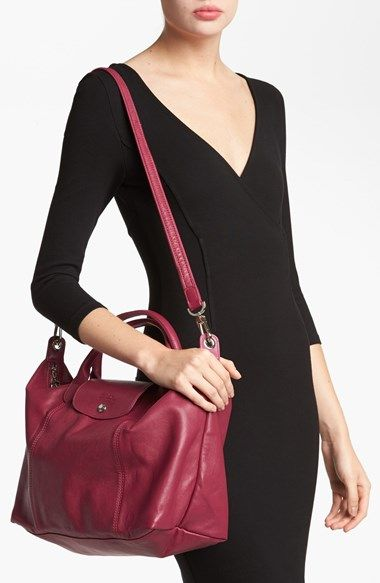 Longchamp Medium 'Le Pliage Cuir' Leather Top Handle Tote ...