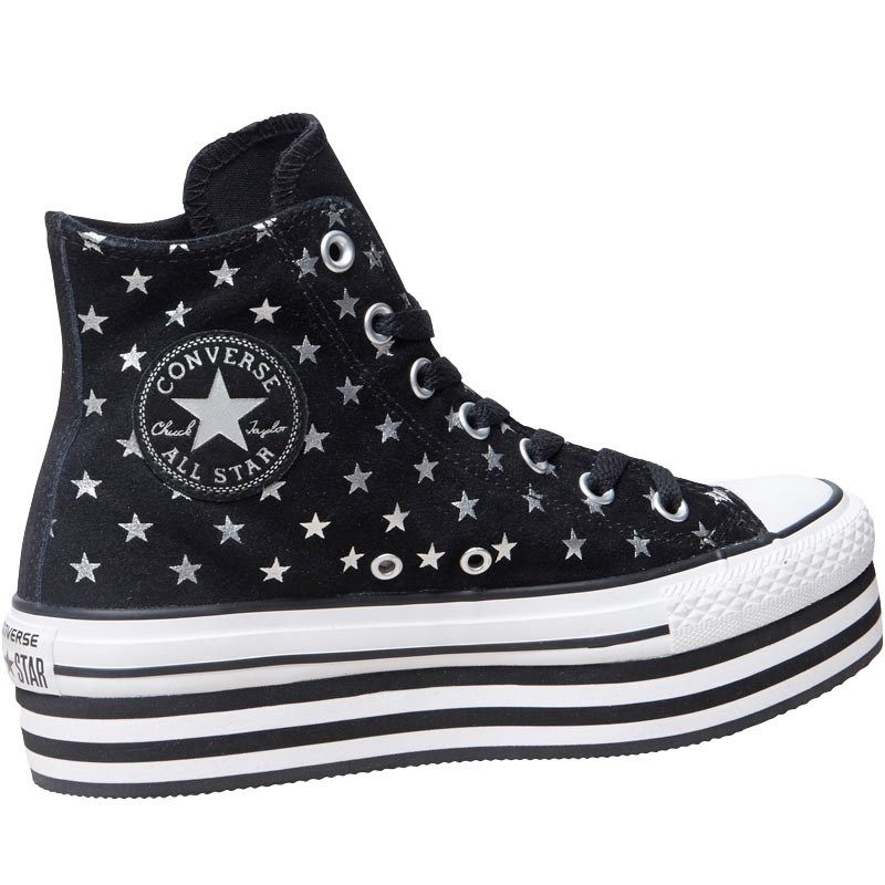 ef35bc820c24 Converse Womens CT All Star Hi Platform Trainers Black White ...