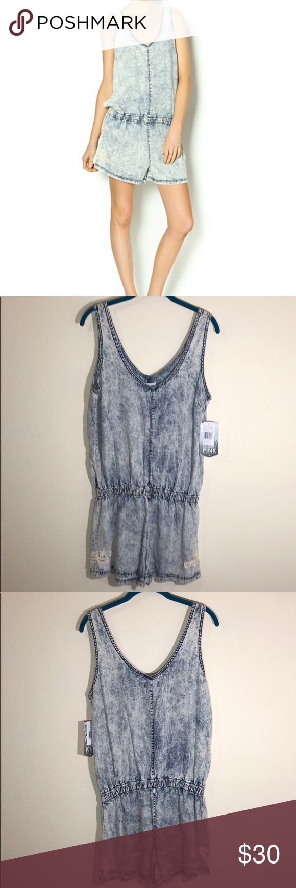 bc7bb23b162 NWT Celebrity Pink Acid Wash Denim Romper NWT Celebrity Pink Acid Wash  Denim Romper Size M Perfect for warmers days and festivals! Acid wash denim  with lace ...