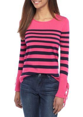 Crown & Ivy™ Women's Sweater With Self Ties - Pink/Navy - Xxl