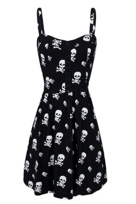 Skull Knit Flair Dress-www.inkedshop.com