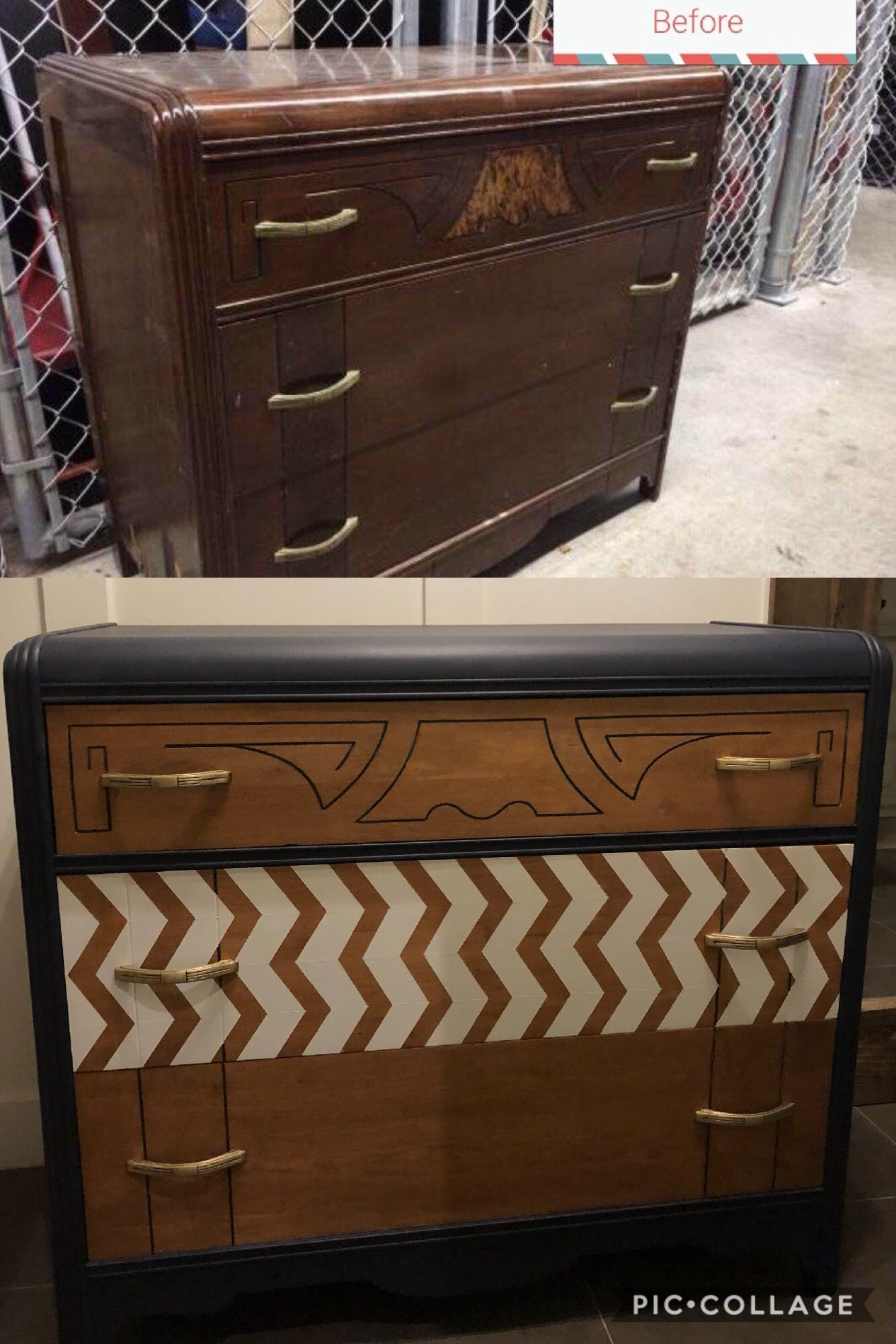 bedroom furniture makeover. Such A Big Transformation On This Waterfall Dresser. Check Out @reimaginebyting Instagram For · DresserFurniture MakeoverFurniture Bedroom Furniture Makeover