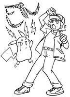 Kolorowanki Pokemon Malowanki Do Wydruku Numer 1 Ash I Pikachu