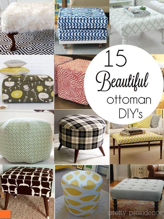 15 diy ottoman ideas diy home decor pinterest. Black Bedroom Furniture Sets. Home Design Ideas