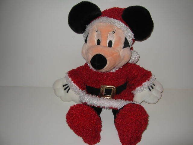 Walt Disney Plush Stuffed Christmas Minnie Mouse In Santa Dress Red Shoes  #Disney
