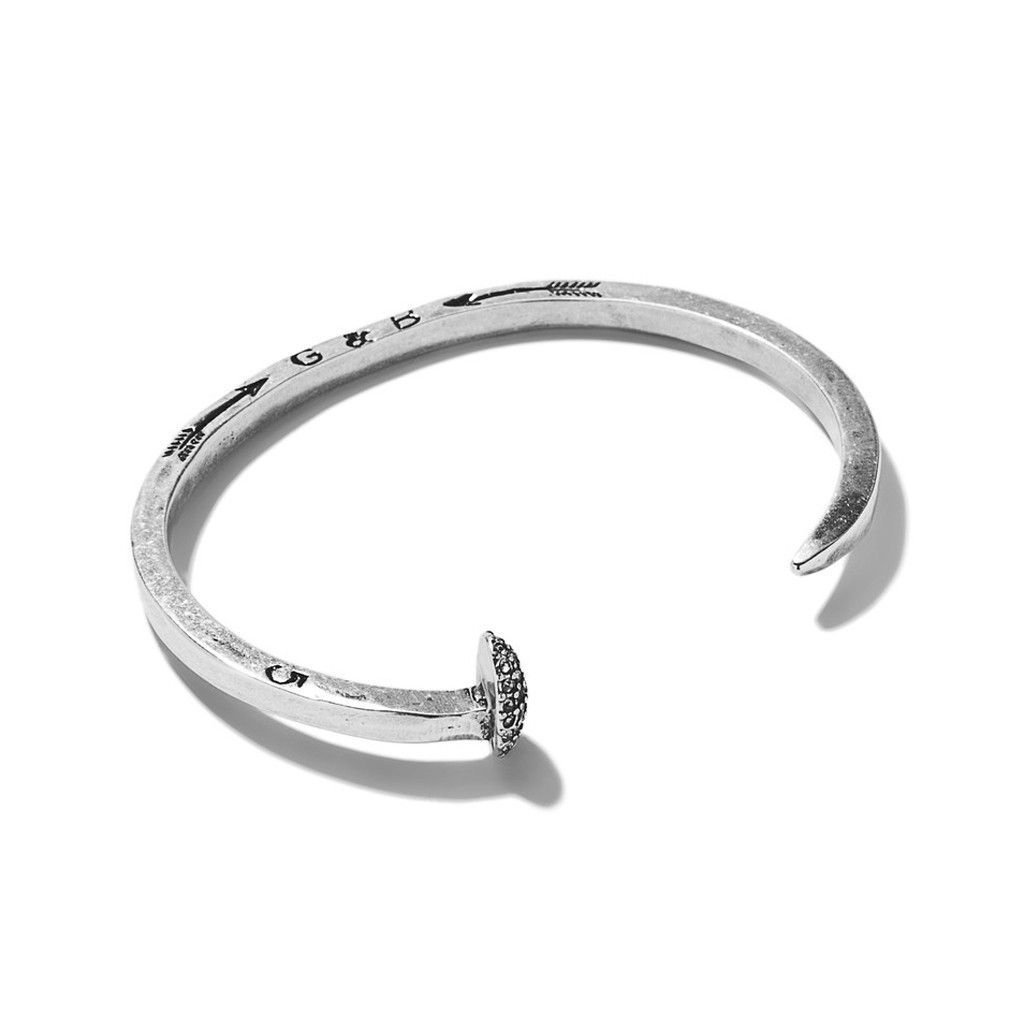 Skinny Railroad Spike Cuff With Pavé Silver Oxide