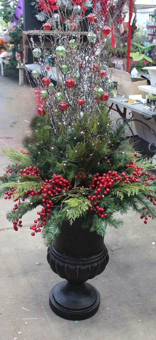 Faux Christmas planters....perfect for your front door or