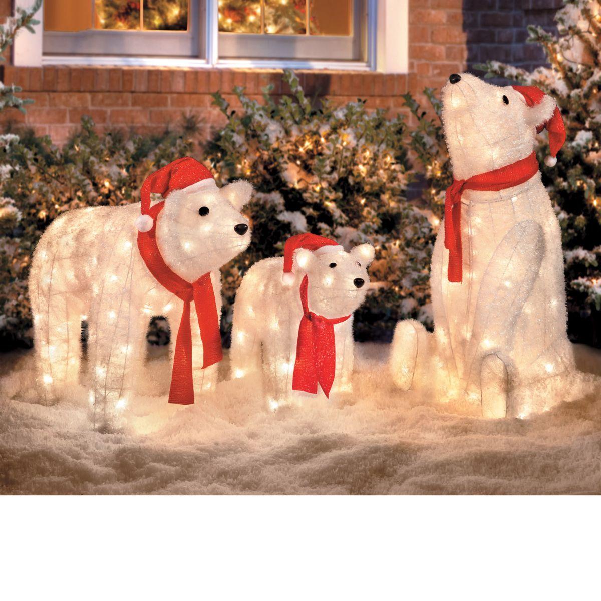 Lighted Polar Bears Set of 3