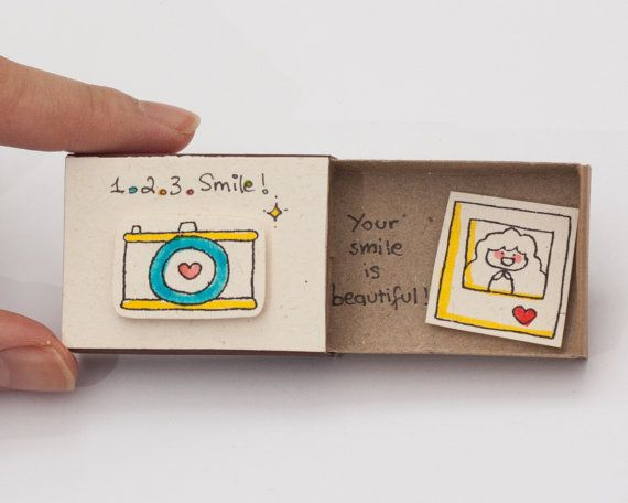 """Cute Love Friendship Card Camera Matchbox / Gift box / Message box """"Your smile is beautiful"""""""