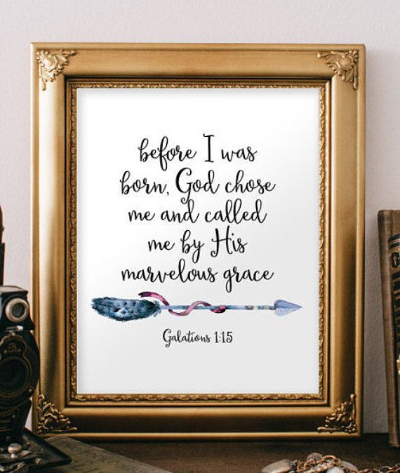 Boy nursery wall art decor, Nursery bible verse, Baby boy nursery art, Kiss wall art, Arrow art God chose me Christian Galatians 1:15 BD902