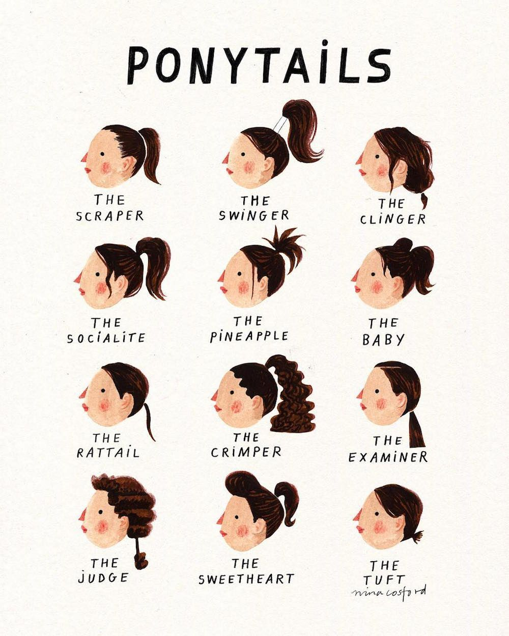 Which Ponytail Are You A Cup Of Jo Curly Hair Styles Face Shape Hairstyles Natural Hair Styles