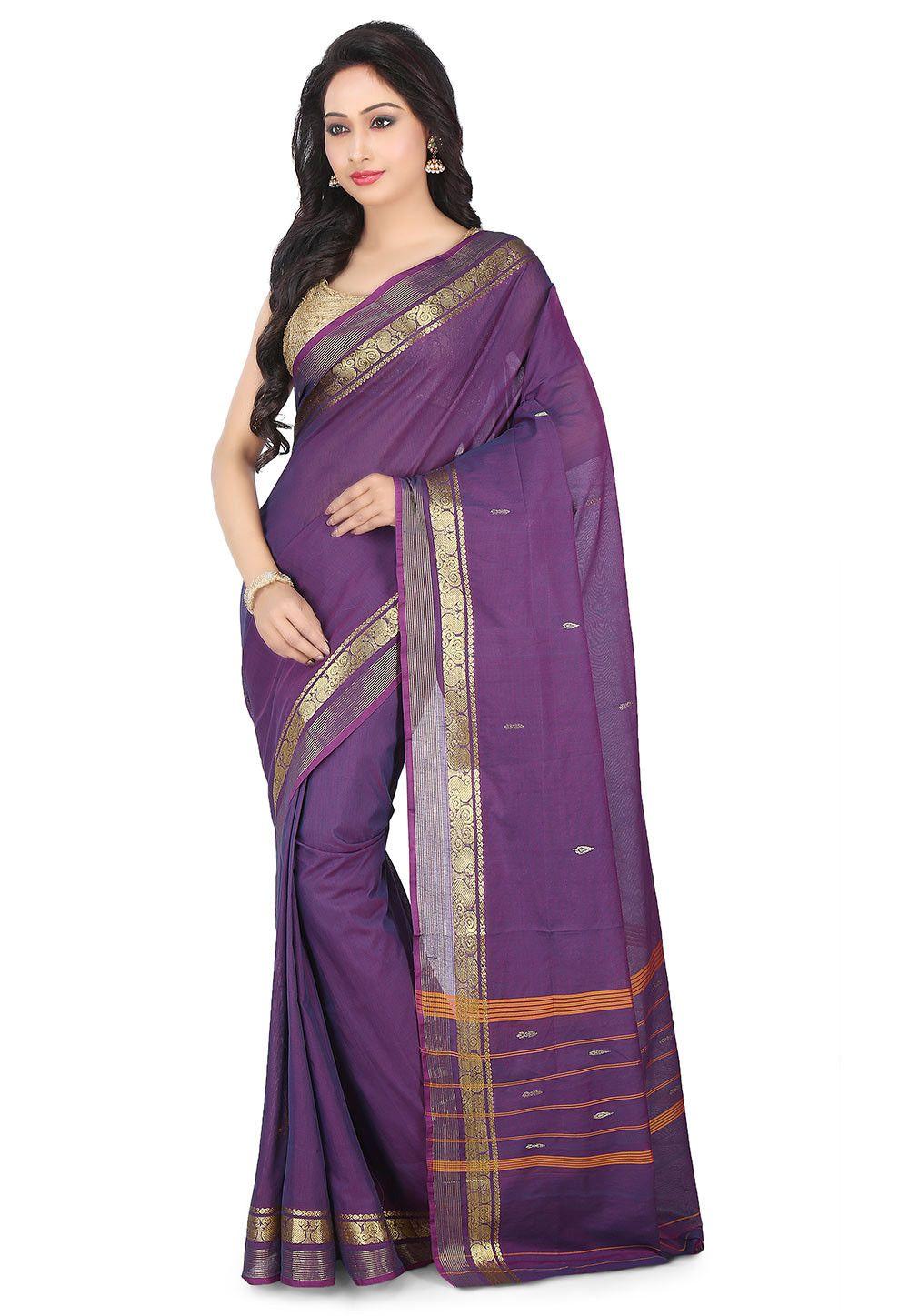 Saree images paithani woven south cotton silk saree in purple  sarees  pinterest  silk