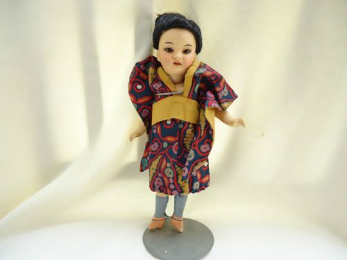 ANTIQUE BISQUE HEAD COMPO BODY ARMAND MARSEILLE ASIAN DOLL AS IS