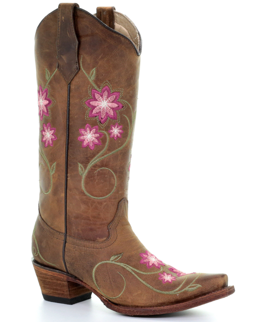 Embroidered Flower Design Kid,s Genuine Leather Cowboy Western Snip Toe Boot