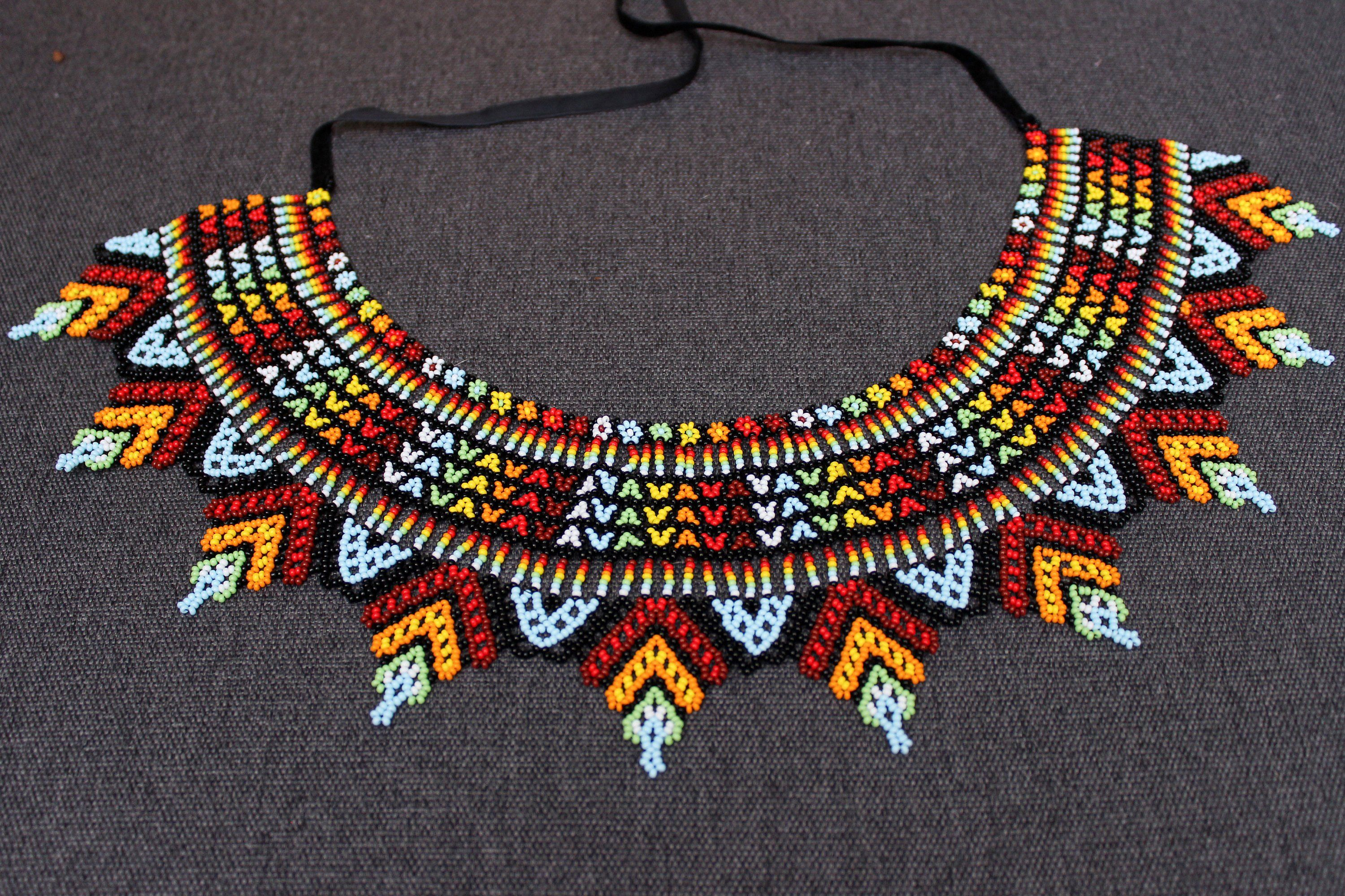 native american big necklace Large  Huichol  necklace boho jewelry glass beads necklace for women handmade