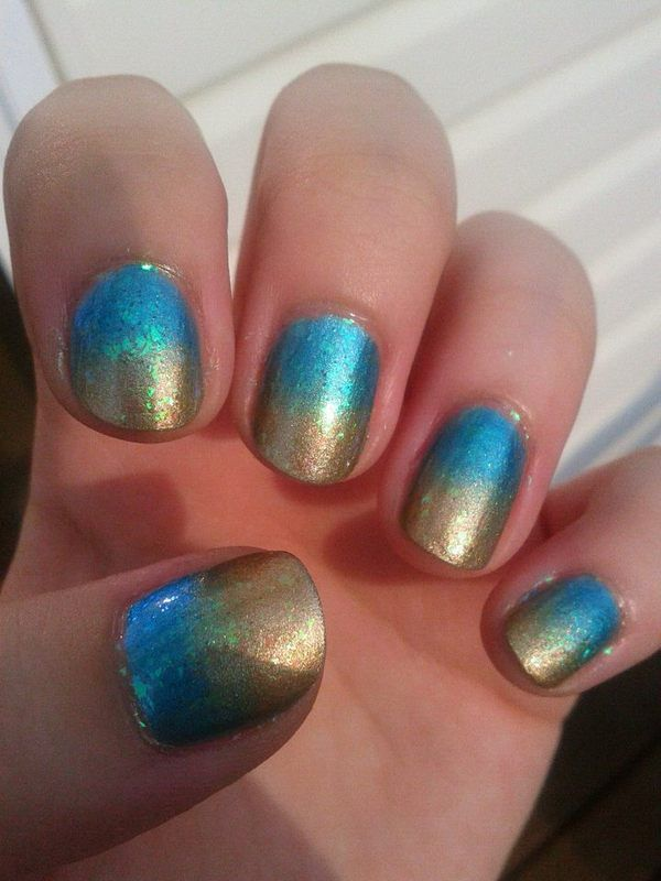 Teal And Gold Gradient With Flakies