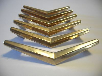 6 Vintage 1950s Brass Plated Chevron Boomerang Drawer Pulls Door Handles Atomic Door Handles Vintage Chevron