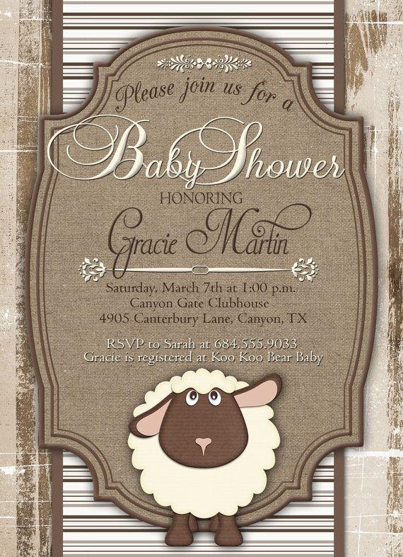 Baby Shower Invitation, Little Lamb Baby Shower Invitation, Rustic Baby  Shower Invitation, Neutral Baby Shower Invitation, Custom Invitation