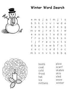 Free Kids Printable Activities: Medium Winter Word Search