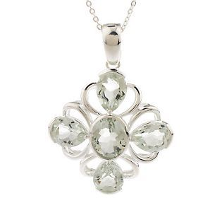 As Is Sterling 5.50ct tw Green Quartz Enhancer with 18 Chain