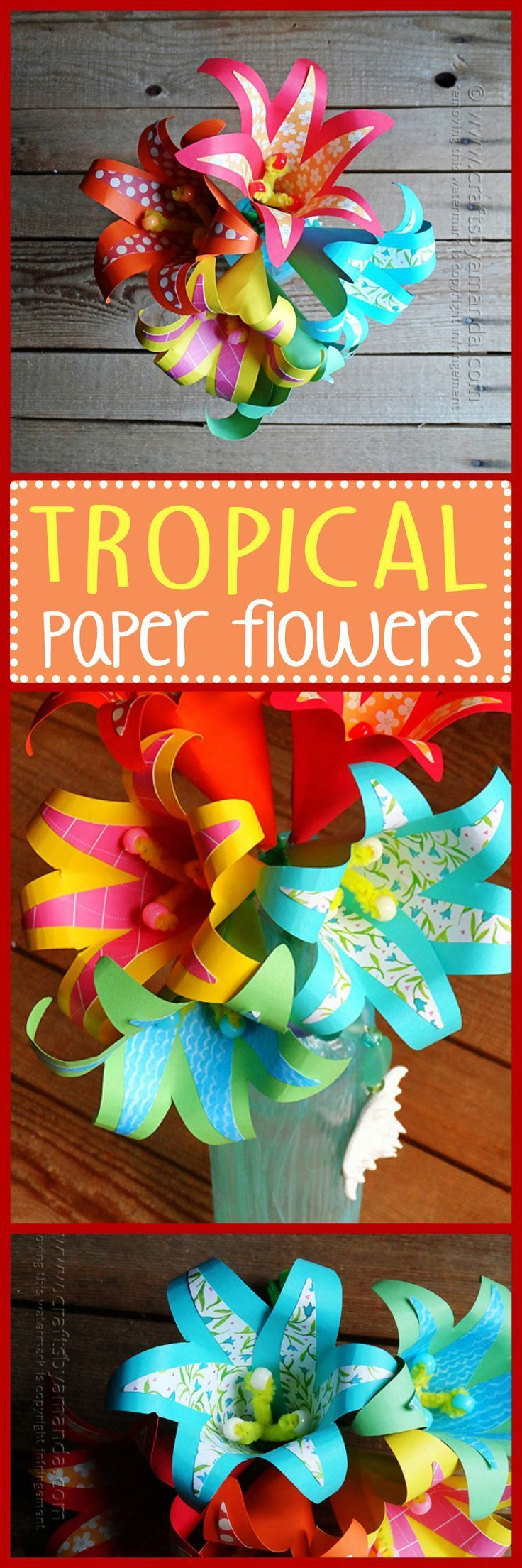 These bright and beautiful paper flowers are made from scrapbook paper and cardstock and were inspired by the gorgeous tropical flowers in warm weather climates. So if you want to have a bit of the tropics in your home year round, make these tropical pape