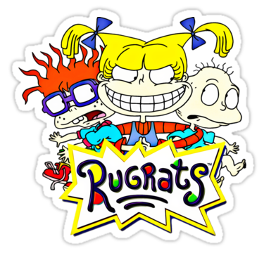 The Rugrats Tommy Chuckie And Angelica Stickers By Rainbowretro Redbubble Rugrats Print Stickers Black And White Stickers
