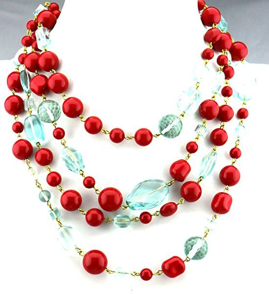 Red Swarovski Pearls + Aqua Necklace USA Made 4 Strands Gift Boxed