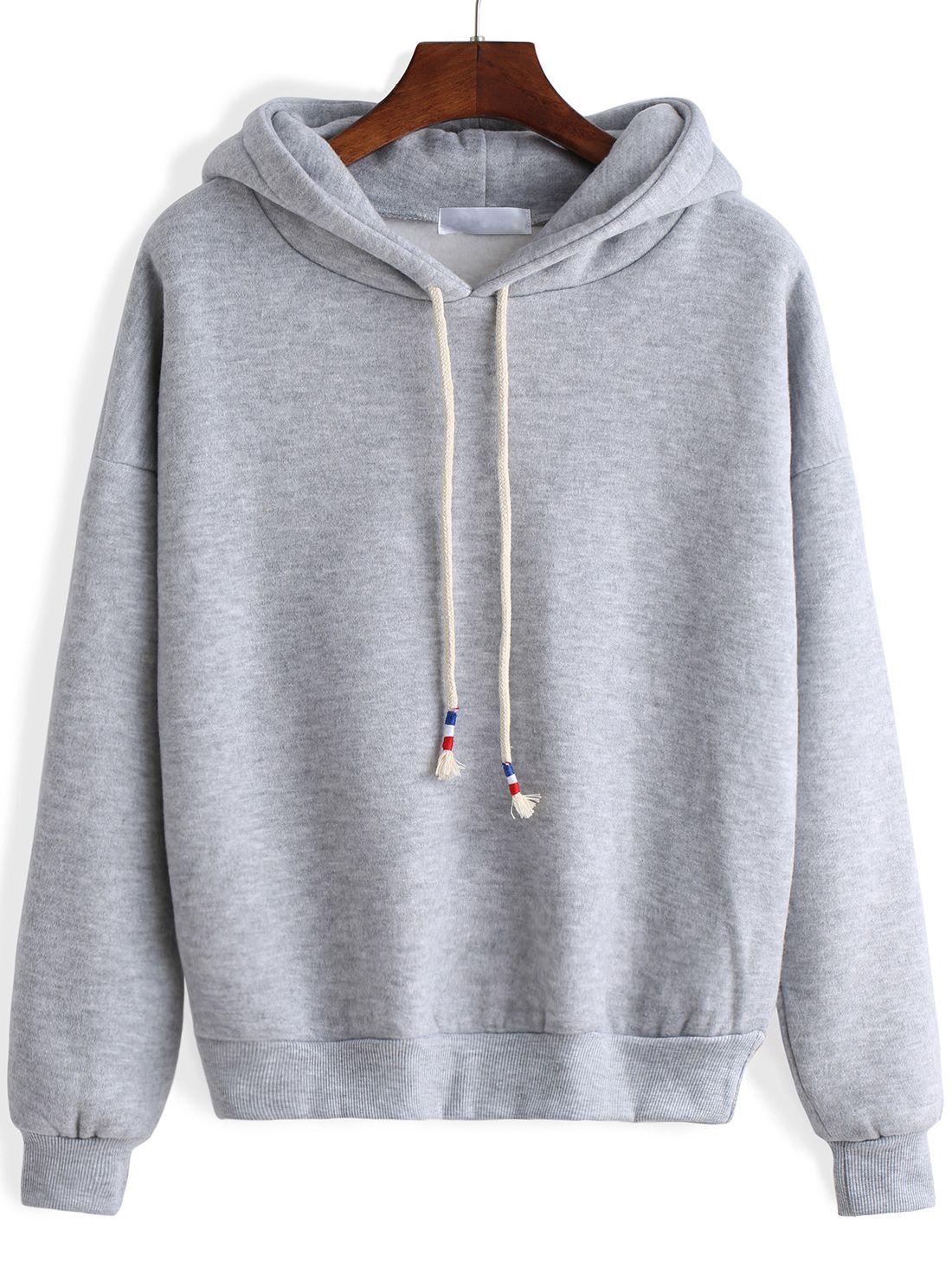 Grey Hooded Long Sleeve Crop Sweatshirt Sweatshirts Crop Sweatshirt Cute Sweatshirts [ 1465 x 1100 Pixel ]