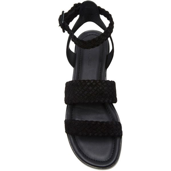 Paul Andrew Alma Woven Flat Sandals ($595) ❤ liked on Polyvore featuring shoes, sandals, black gladiator sandals, gladiator sandals, suede shoes, greek sandals and black suede sandals